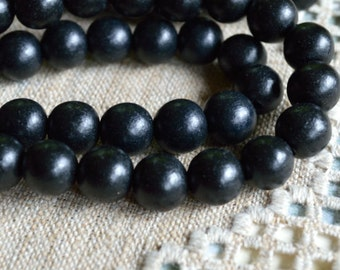 25pcs Black Wood Natural Beads 16mm Round Macrame Beads
