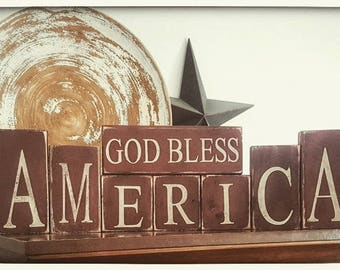 God Bless American Wooden Block Set/Americana Decor/Americana/Primitive  Decor