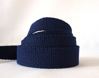 "Navy blue cotton webbing, navy blue bag handles, navy blue cotton strapping, Cotton webbing, NAVY BLUE, heavy weight 1"" x 4.5m, UK shop"