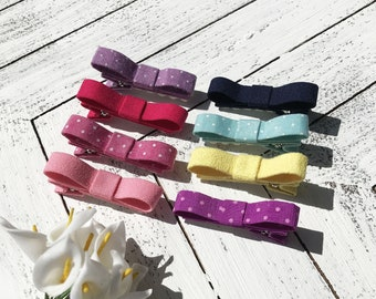 U pick 4 bow clips no slip for girls mini clip for baby toddler hair clips baby barrettes toddler barrettes lined