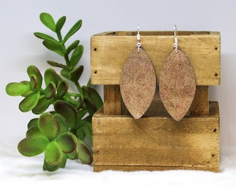 Brown Marble Faux Leather Leaf Earrings-Iridescent Brown Marble Faux Leather Leaf Earrings