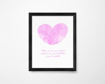 Girls Room Decor, Girls Room Art, for Girls Room, Hold Me in Your Heart, PRINTABLE Art