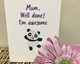 Mother's Day card, funny mothers day card, mothers day, funny cards, funny greeting cards, panda card, cute cards, cute mothers day card