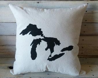 Great Lakes Throw Pillow, Lake Michigan, Lake Erie, Lake Superior, Lake Huron, Lake Ontario, Decorative Pillow Cover