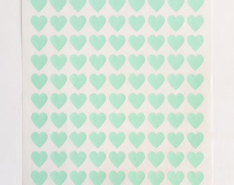 Heart Stickers, 108 Envelope Seals, Stickers Labels, Self Adhesive, Light Green, Mint Green, Invites Seal, Wedding, Birthday, Baby Shower