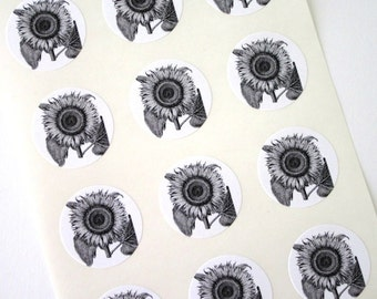 Sunflower Stickers One Inch Round Seals