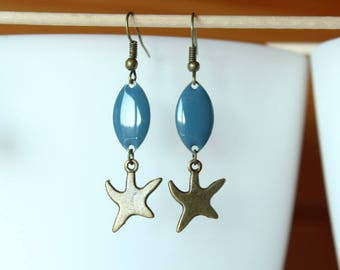 Earrings bronze starfish and blue sequin