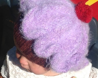 Hand knit cupcake hat for your favorite little sweetie.