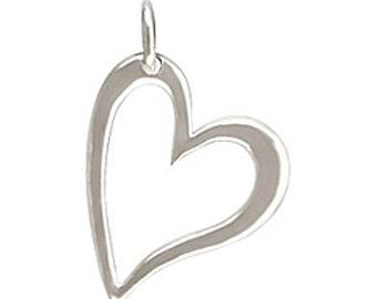 Sterling Silver Open Heart Charm, Silver Heart, Heart Charm, Heart Pendant, Sterling Heart Charm, Silver Heart Charm, Love Charm, Heart