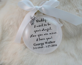Memorial Ornament, I Used To Be Your Angel, For Daddy, Mommy, Father, Mother, Free Personalization and Charm