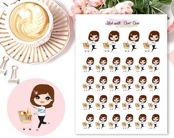 Amelie kawaii GROCERY SHOPPING planner stickers || Erin Condren Life Planner, Kikki K, Plum Paper Planner
