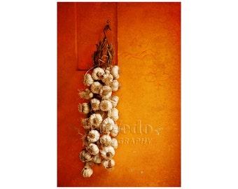 Garlic Photograph, Kitchen Decor, Italy Souvenir, Orange Tangerine, Honey Gold, Food Photography, Italian Market