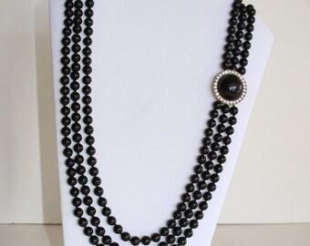 Black Necklace - Three Strands Necklace - Fifties Beads Rhinestones Necklace - Plastic 3 Strand Round Beads - Retro
