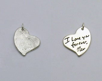 Handwriting Jewelry, Double-Sided Heart Handwriting Pendant with Handwriting on Both Sides, Personalized Jewelry, Memorial Jewelry