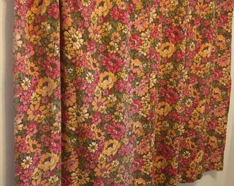 "vintage curtains, floral curtain panel, red, yellow, pink curtains 78"" by 52"""