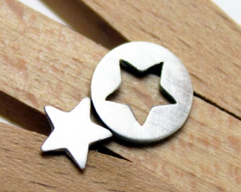Sterling Silver Star Opposites Earrings - Star Post Earrings
