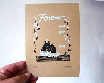 Forever  -  original linocut - limited edition - 13x18cm// illustration, printmaking, print, love, friendship, bear, wall art, art,