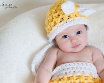 Hat and Cocoon Baby BOW Photo Prop in Yellow and White 2Pcs Set Photography Newborn Infant Girl Boy Photo Shoot Perfect GIFT Newborns Infant