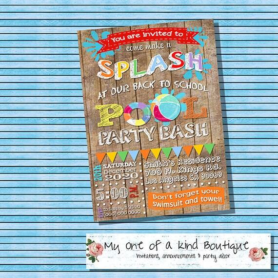 Back to school pool party invitation pool party splash bash stopboris Images