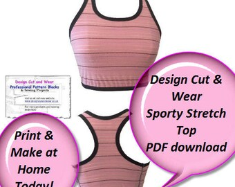 PDF Instant Download - Sporty Stretch Top - With Pictorial Detailed Sew Along- UK/USA & European Sizing Conversion- Make Today xs-xl