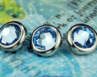 10 clair saphir cristal cheveux s'enclenche - rond bord d'argent édition--faite avec des strass Swarovski Element