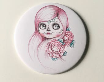 Pocket mirror-blythe pocket mirrow, illustrated mirror, blythe illustration