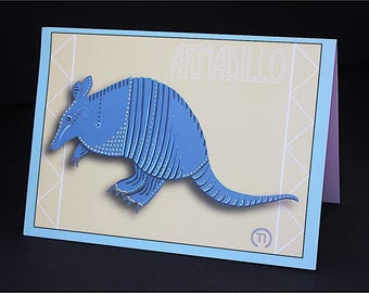"Armadillo 4.25"" x 6"" Blank Greeting Card"