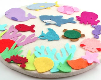 Felt Board Ocean Set, Activity Learning Toy Gifts, Busy Bag Quiet Gifts, Montessori Toy Gift, Quiet Learning Activity Toy, Slippery Fish Set