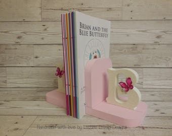 Handmade Girl's bookends / Nursery display bookends / Children's playroom / Bedroom