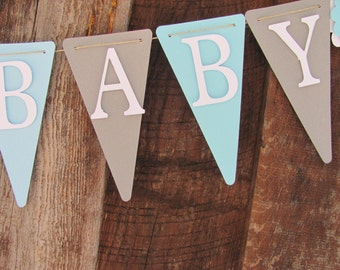 Light Blue, Grey and White Baby Shower Banner, Welcome Baby, Baby Shower Decorations, Baby Boy Shower Decorations, Gray Blue and White