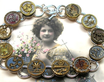 "1800s Antique BUTTON bracelet, Victorian flowers, 8.25"" button jewellery."