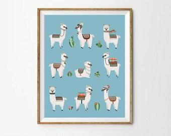 Alpaca & Cactus Poster, 8 x 10 in, 11 x 14 in, 17 x 22 in, Alpaca Print, Kids wall art, Animal print, Llama art, Nursery alpaca prints