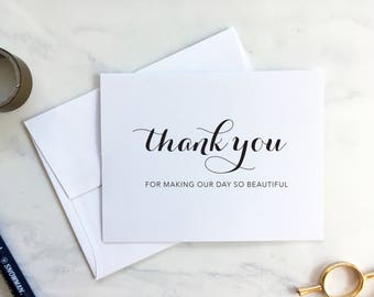 Thank you for making our day so beautiful card - for decorators, hair and makeup artists, and more