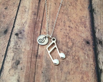 Music note initial necklace - eighth note necklace, music jewelry, musician necklace, music teacher gift, silver music note necklace