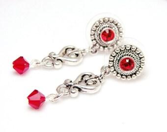 Fiery Red Siam Swarovski Crystal Antiqued Earstud Earrings, Jewelry