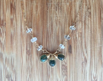 Green Labradorite and Aquamarine 14 Karat Gold Filled Wire Wrapped Necklace on 14 Karat Gold Filled Chain