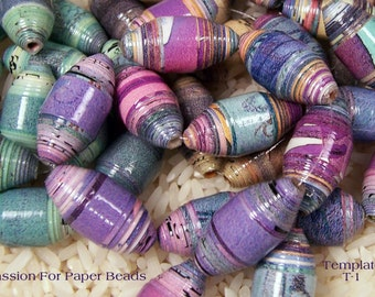 Paper Bead Template T-1 Olive Shape Paper Beads