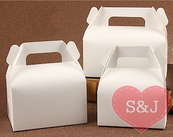50x WHITE Kraft Gable Cardboard Boxes with Handle - wedding/birthday/party favour