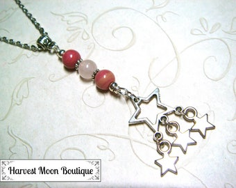 Star Necklace, Star Jewelry, Celestial Necklace, Celestial Jewelry, Rhodonite & Rose Quartz Beaded Necklace, Gift for Her, Teen Girl Gift