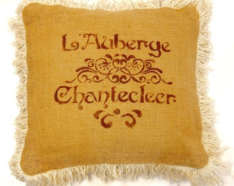 french design burlap pillow