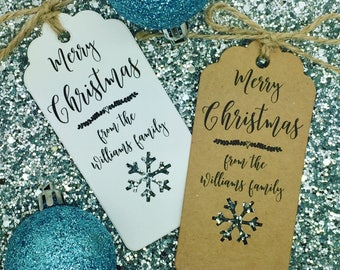 Personalised Christmas Card/ Gift Tag, Xmas Party Present, Tree Tie Wrap