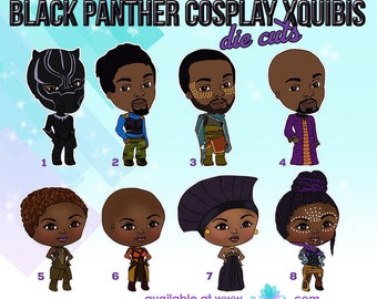 Black Panther Cosplay XQuibi Die Cuts for Travelers Notebooks/ African American Chibi Die Cut Stickers for TN/ Brown Skinned Die Cuts