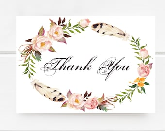 Printable Thank You Card, Instant Download, Digital File, Floral Card, Digital Thank You Card, Calligraphy