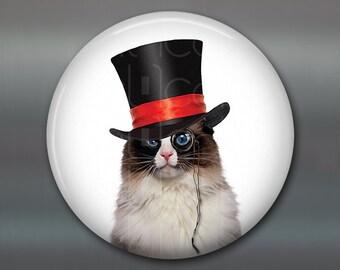 "3.5"" steampunk cat magnet, cat decor, steam punk decor, cat fridge magnet kitchen decor, large fridge magnet, housewarming gift MA-1015"