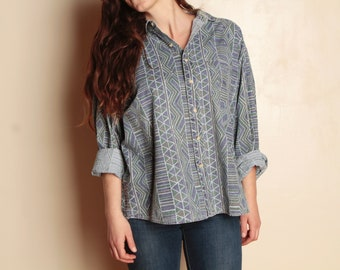 Y2K seinfeld vintage surf long sleeve OVERSIZE vintage 90s versace style BLOUSE shirt top
