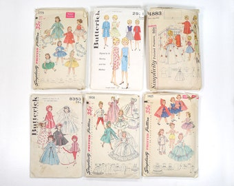 Vintage Doll Clothing Sewing Patterns - Lot of 6 All Complete - Simplicity #1808/#4883/#1405/#1779 - Butterick #2931/#8353 - Tammy & Mom