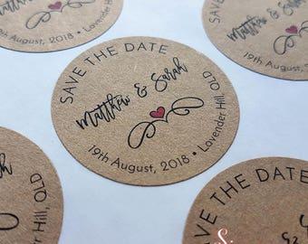 Save the date Kraft Brown Wedding Envelope Sticker Seals