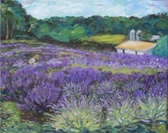 """Landscape of Lavender Farm, Barn, 8 x 10"""" Giclee Print of Original Oil Painting by Laurie Rubinetti, Bucks County, PA"""
