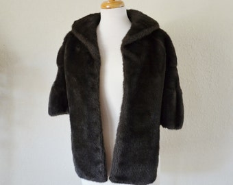 Vintage Vegan Faux Fur Capelet Stole Wrap Dark Brown