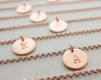 Personalized Bracelet thin Rose Gold Bracelet initial disc personalised jewellery monogram bracelet layering bracelet best friend gift